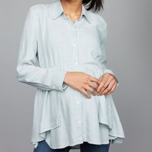 A Pea in the Pod Button Front Striped Ruffle Shirt